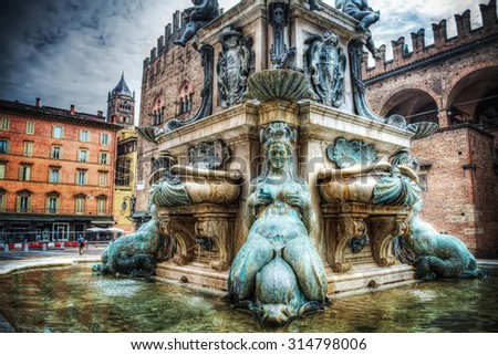 lower part of Triton statue in Bologna, Italy - stock photo