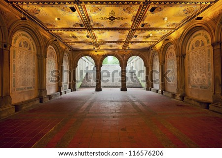 Lower Passage of Bethesda Terrace. Image of Lower Passage of Bethesda Terrace in Central Park, New York City.