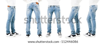 Lower than a belt - stylish men's clothing. Jeans. - stock photo