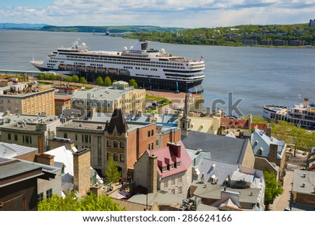 Lower town of Old Quebec city and St Lawrence river. Canada. A UNESCO World Heritage Site - stock photo