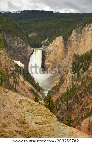 lower yellowstone falls from artist point in Yellowstone national park, Wyoming - stock photo