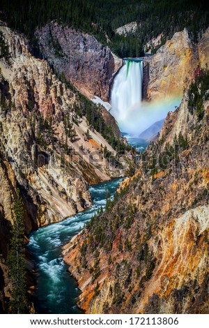 Lower Yellowstone Falls with Rainbow, Yellowstone National Park, USA - stock photo