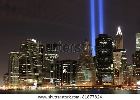 Tribute Lights Stock Images RoyaltyFree Images Vectors - Two beams light new yorks skyline beautiful tribute 911