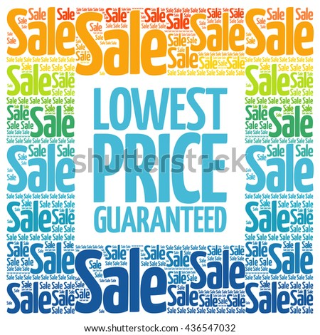 Lowest Price Guaranteed words cloud, business concept background - stock photo