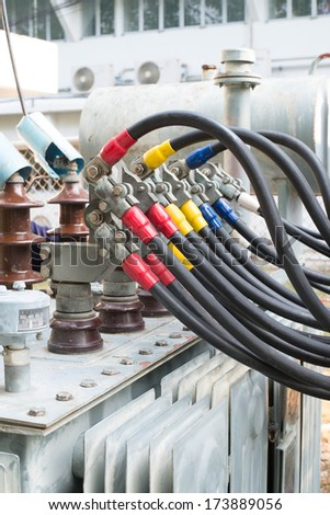 lows voltage section transformer - stock photo