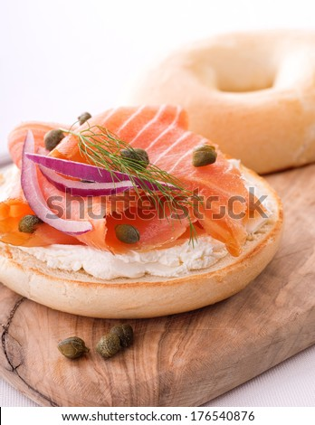 Lox and Bagel with Cream Cheese - stock photo