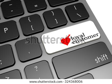 Loyal customer black keyboard image with hi-res rendered artwork that could be used for any graphic design.