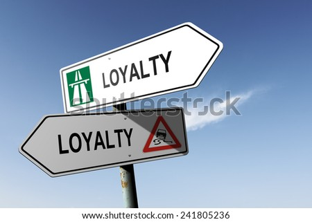 Loyalty directions. Choice for easy way or hard way. - stock photo