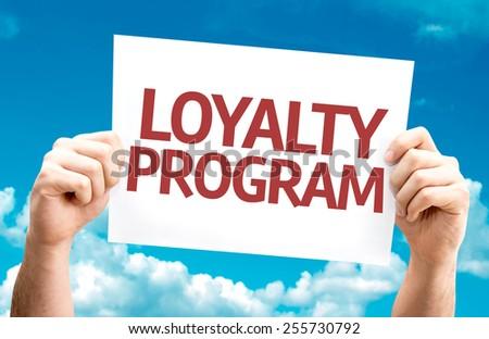 Loyalty Program card with sky background - stock photo