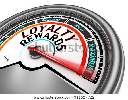 Loyalty rewards conceptual meter indicate maximum, isolated on white background - stock photo