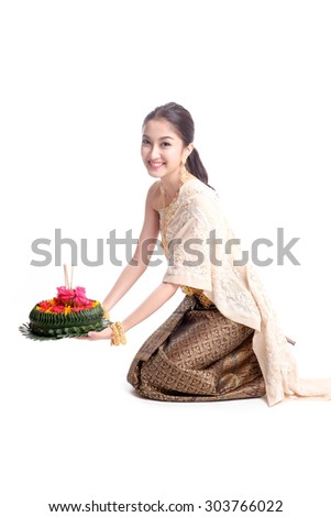 Loykratong tradition, Thai woman hold kratong - stock photo