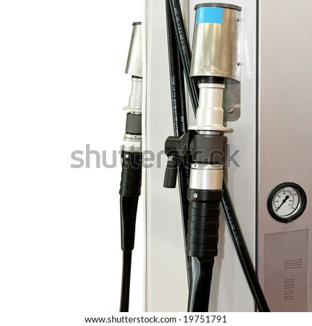 LPG gas pump nozzle at petrol station - stock photo
