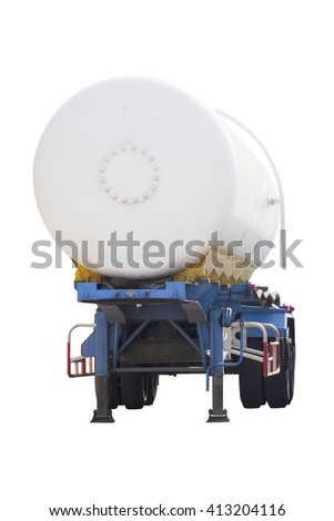 LPG Gas trailer for delivery transport isolated on white background with clipping path - stock photo