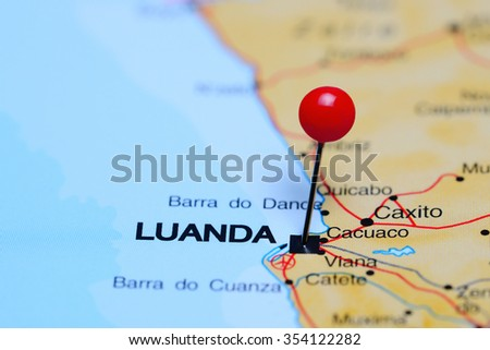 Luanda pinned on a map of Africa  - stock photo
