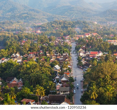 Luang Prabang above view,Laos - stock photo