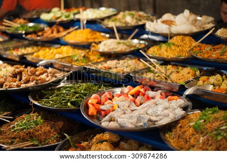 Luang Prabang buffet. - stock photo