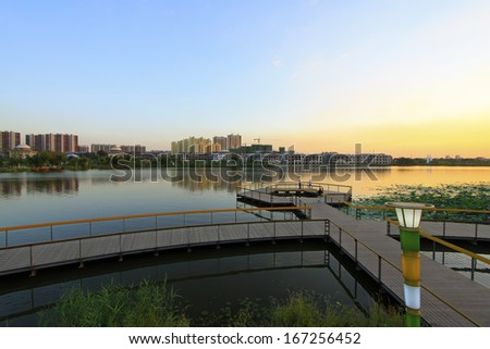LUANNAN COUNTY, CHINA - AUGUST 30: The landing stage architecture in the North River Park, on August 30, 2013, LuanNan county, Hebei province, China.