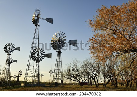 Lubbock, Texas, USA, - April. 1. 2012: windmills at American Wind Power Center, the museum displaying various windmills, Lubbock, Texas - stock photo