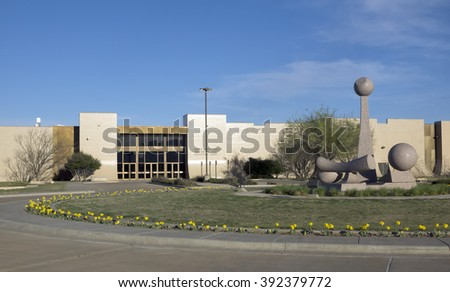 LUBBOCK, TEXAS, USA-March 13,2016: Sculptures in front of a museum, Helen DeVitt Jones Auditorium And Sculpture Court, Texas Tech University