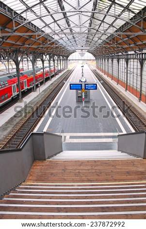 LUBECK, GERMANY - NOVEMBER 7, 2013: Platform of Lubeck Hauptbahnhof (main railway station) - stock photo