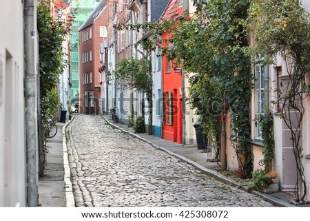 Lubeck in region Schleswig-Holstein, Germany. Hanseatic City. Old Town architecture. - stock photo