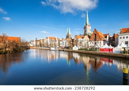Lubeck unesco old city panorama - stock photo