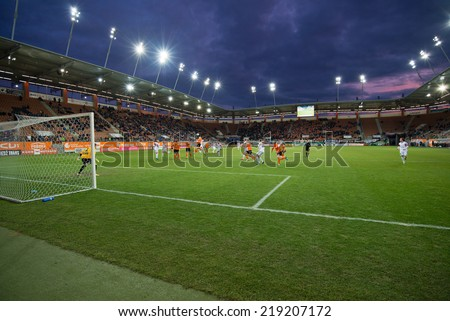 LUBIN, POLAND - FEBRUARY 16, 2014:  Action in front of goal Zaglebie Lubin during match Polish Polish Premier League between KGHM Zaglebie Lubin and Gornik Zabrze (3:0).