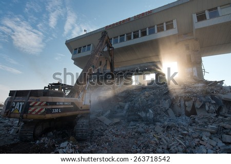 LUBIN, POLAND - MARCH 24, 2015: Dismantling of a old building of football club KGHM Zaglebie Lubin. This building was build in 1985 year.