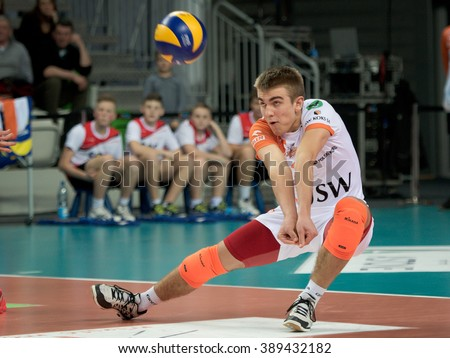 LUBIN, POLAND - MARCH 09, 2016: Keith Pupart in action during match PlusLiga in volleyball  between Cuprum Lubin - Jastrzebski Wegiel 3:1.