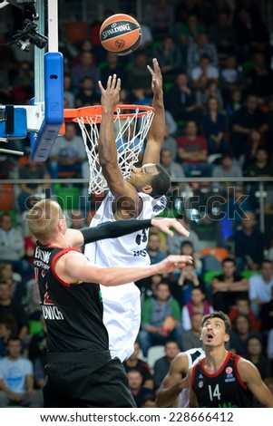 LUBIN, POLAND - NOVEMBER 06, 2014:  Chris Wright in action during match Euroleague basketball  between PGE Turow Zgorzelec - Bayern Munich 89:78. - stock photo