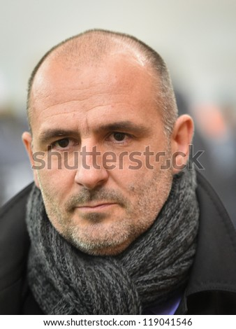 LUBIN, POLAND - NOVEMBER 16: Michal Probierz, coach of GKS Belchatow before match Polish Premier League between KGHM Zaglebie Lubin - GKS Belchatow (1:0) on November 16, 2012 in Lubin, Poland.