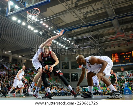 LUBIN, POLAND - NOVEMBER 06, 2014: Vladimir Stimac (15) in action during match Euroleague basketball  between PGE Turow Zgorzelec - Bayern Munich 89:78. - stock photo
