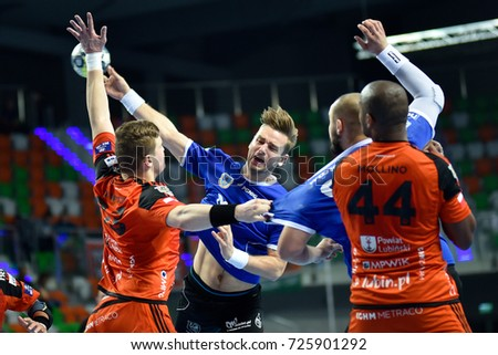 LUBIN, POLAND - OCTOBER 1, 2017: Polish PGNiG Superleague men in handball match between MKS Zaglebie Lubin - SPR Stal Mielec 40:28. In action Tomasz Mochocki.