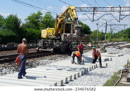 LUBLINIEC, POLAND - July 26, 2013 Construction works on the railroad PKP