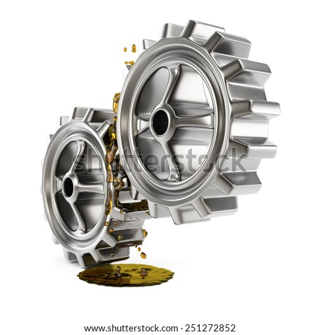 Lubricated gears isolated on white background. 3d render - stock photo