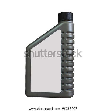 Lubricating oil bottle on white background.
