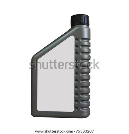 Lubricating oil bottle on white background. - stock photo