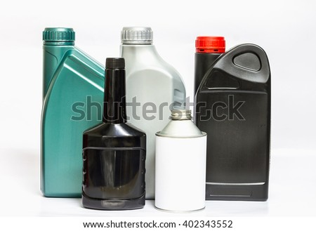 Lubricating oil can on white background - stock photo