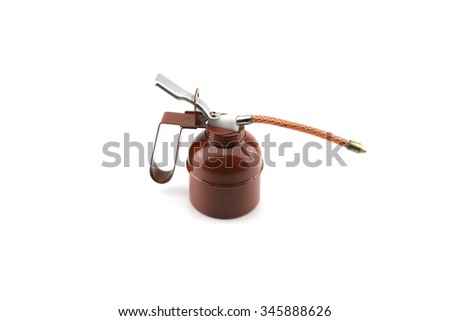 Lubricating Red Oil Can on White Background