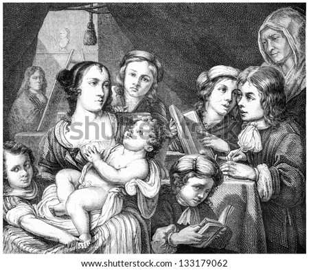 Lucas Franchois and his Family - Painting by Lucas Franchois, vintage engraved illustration. Le Magasin Pittoresque - 1874 - stock photo