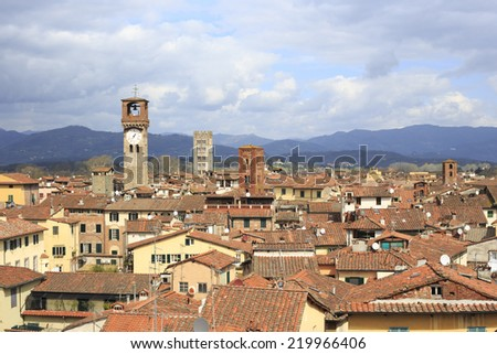 Lucca from above - stock photo