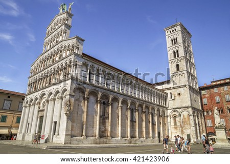 LUCCA, ITALY - JUNE 26, 2015. Chiesa di San Michele in Foro - Church of San Michele in Foro,catholic church dedicated to Archangel Michael, beautiful attraction in the ancient city of Lucca, Italy.