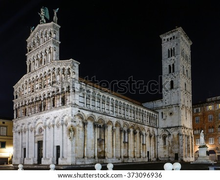 Lucca (Tuscany, central Italy) city night view. The San Michele in Foro (is  a Roman Catholic basilica church). Facade build in 13th century.