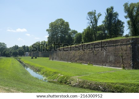Lucca (Tuscany, Italy), the famous medieval walls - stock photo