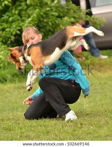 LUCENEC, SLOVAKIA  MAY 13, Denisa Gombalova showing agility in Horse Day May 13, 2012 in Lucenec, Slovakia - stock photo