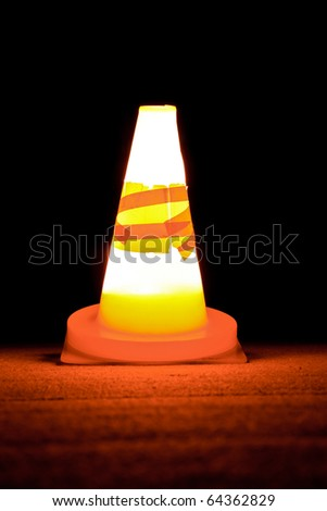 lucent red warning cone - stock photo