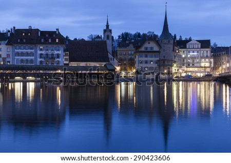 Lucerne architecture along Reuss River