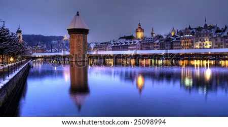 Lucerne/Luzern winter-night panoramic, Switzerland - stock photo