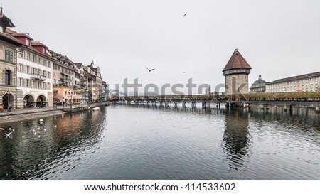 Lucerne Switzerland, November 2014 : Holiday in Switzerland, Foggy view of winter in Chapel Bridge, Lucerne Switzerland