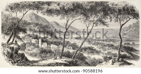 Lucerne valley old view, Switzerland. Created by De Bar after Muston, published on L'Illustration, Journal Universel, Paris, 1858 - stock photo